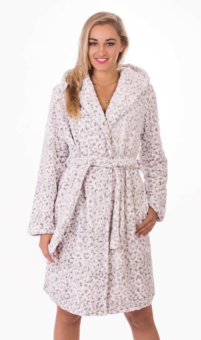 Dámský župan krátký s kapucí Leopard Soft - šedá/růžová M