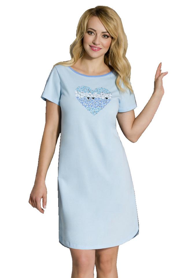 Dámská noční košile Lovela 291 - Regina - S - sv. modrá s potiskem