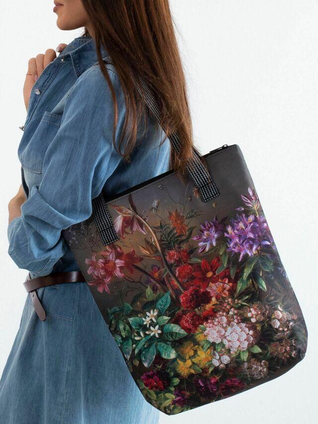 Taška s potiskem khaki květiny - jedna velikost