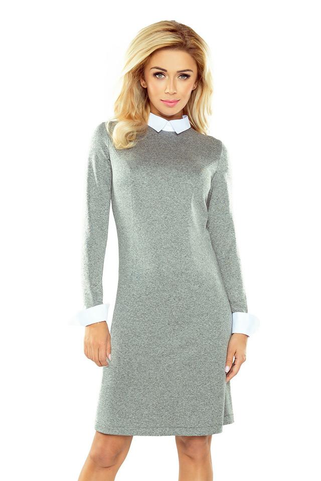 477cd65e703 Šedé svetrové šaty s límečkem 167-1 - XL