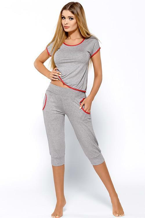 Dámské pyžamo Hamana Milano SET - XL - šedá (melanž)