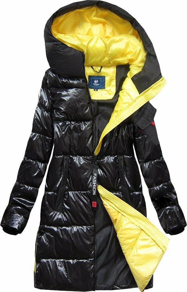 Černá lesklá bunda s kapucí (J9-003) - L (40) - černá