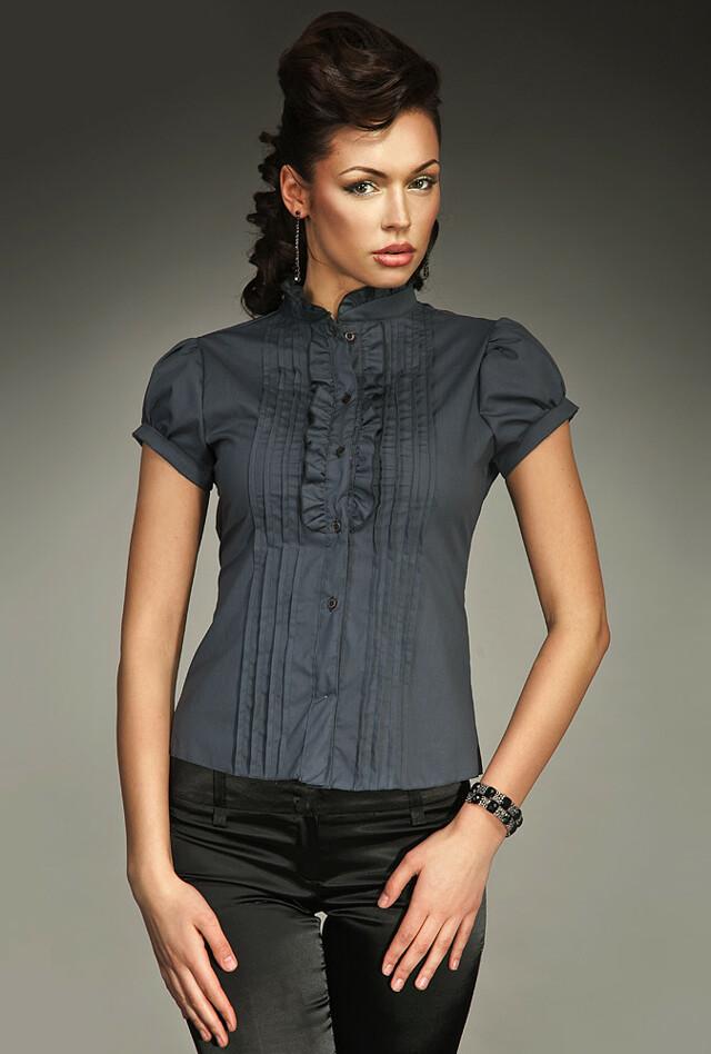 Dámská košile s krátkým rukávem K26 - Nife - 42 - šedá