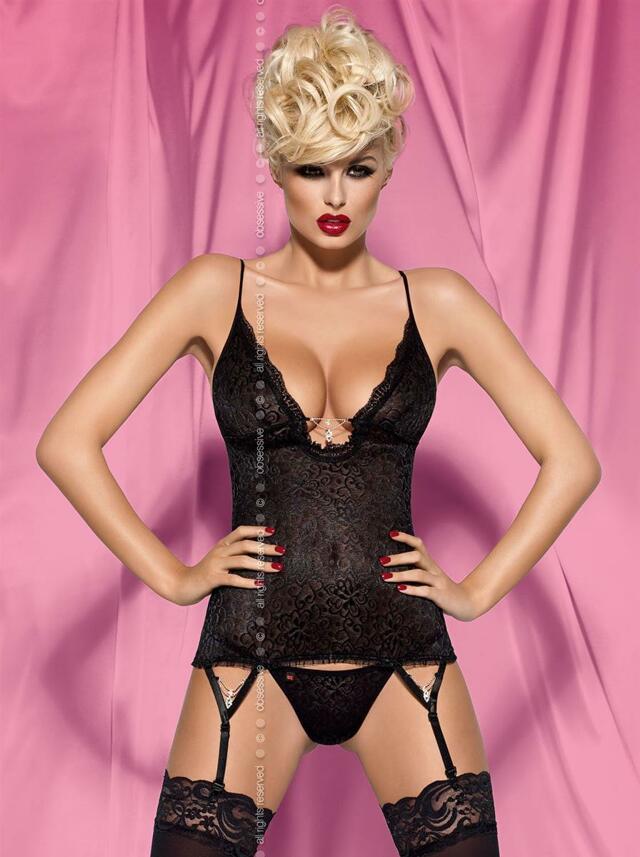 Korzet Diamond corset - Obsessive - XXL - černá