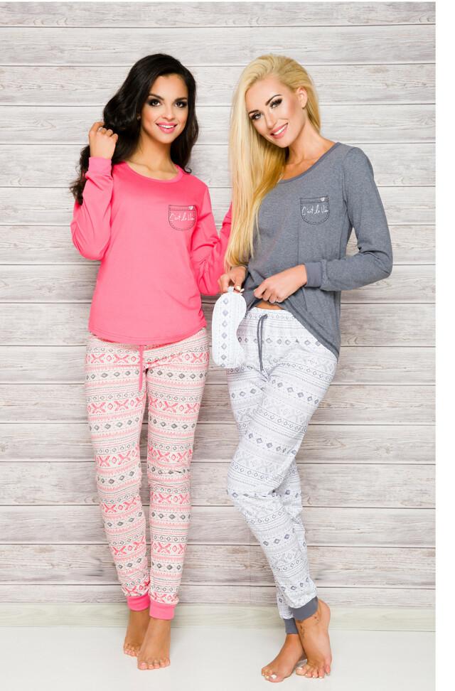 Pyžamo Taro Nora 2124 dl/r S-XL N - L - korálová-sv.růžová