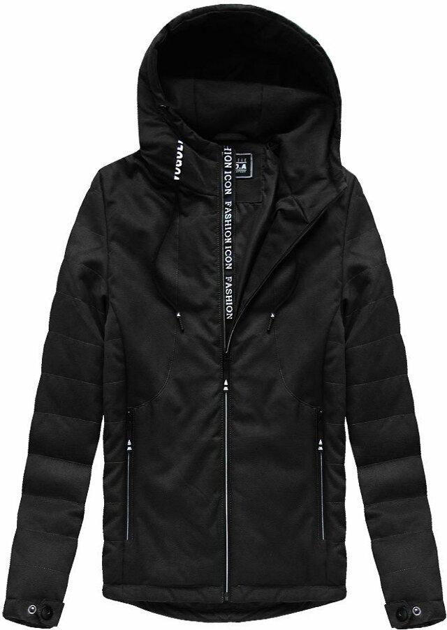 Černá pánská bunda s kapucí (M722) - XL - černá
