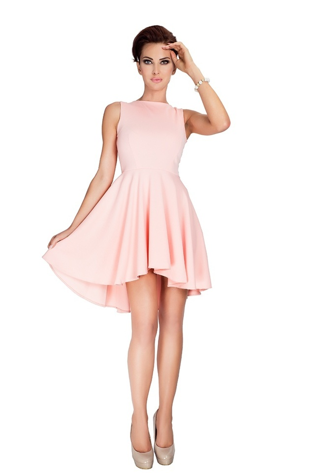 Broskvové šaty s delší zadní stranou 33-1