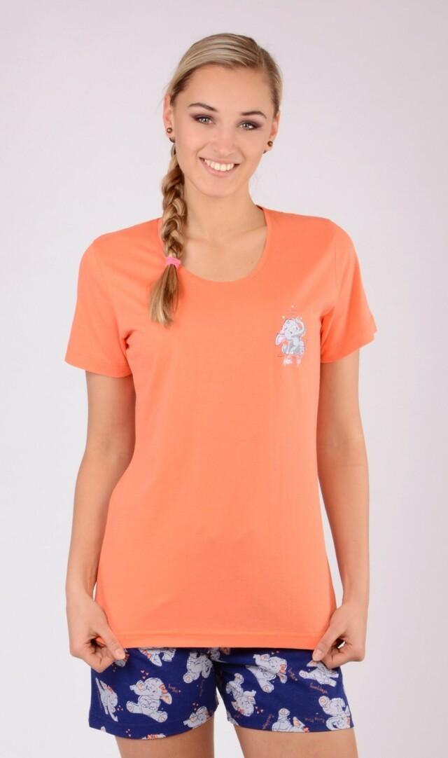 Dámské pyžamo šortky Slůně - oranžová S
