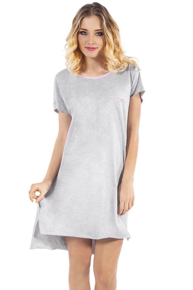Noční košile Italian Fashion Lexi kr.r. - L - žíhaná/růžová