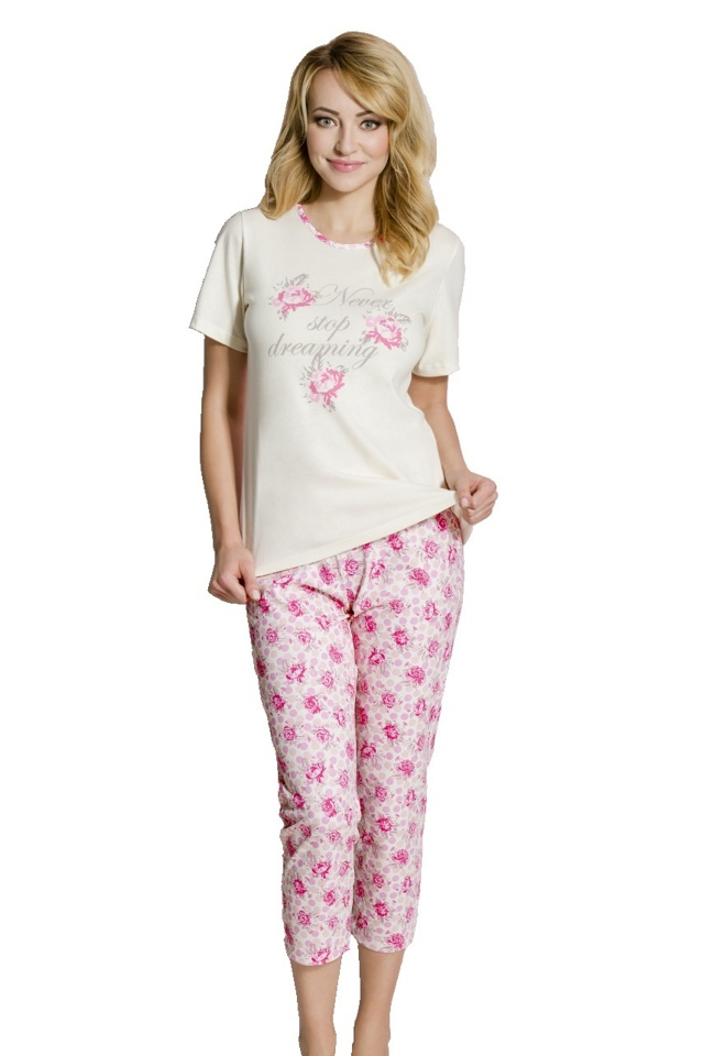 Dámské pyžamo Rosie růžičky - XL