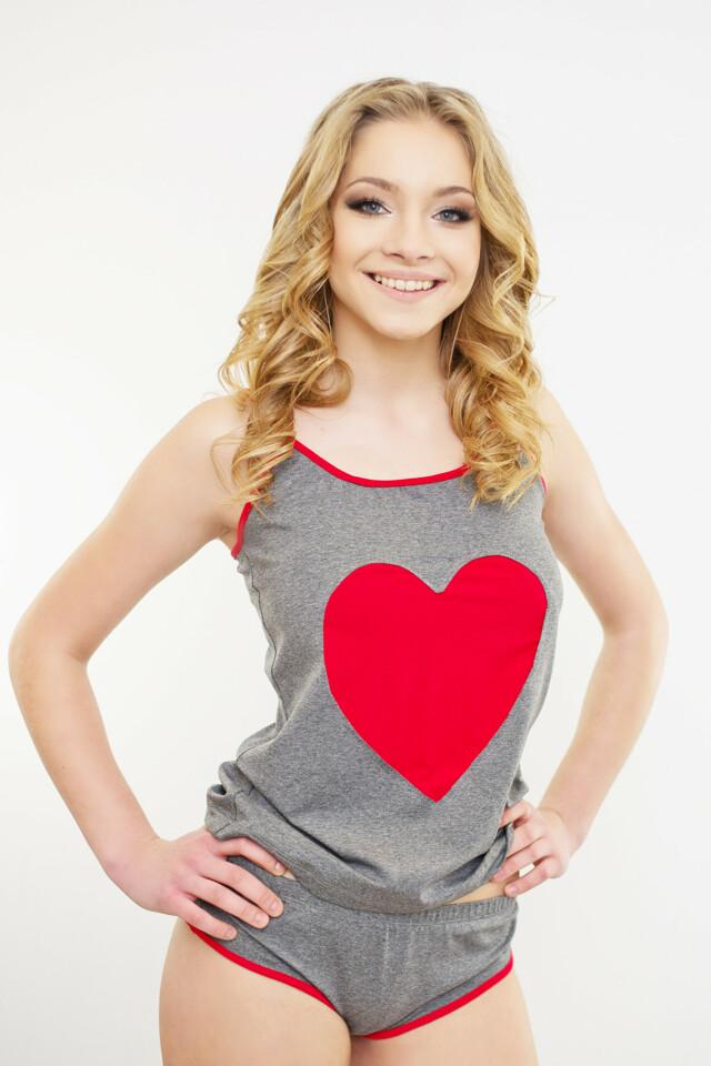 Dámské pyžamo Afrodita červené srdce - L