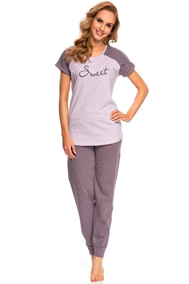 Dámské pyžamo Dn-nightwear PM.9002 - M - fialová žíhaná