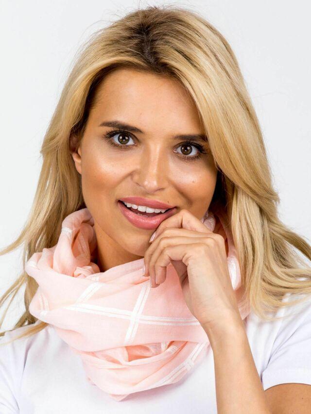 Růžový kostkovaný šátek - ONE SIZE