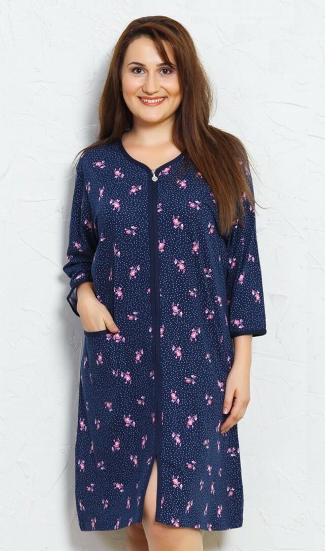 Dámské domácí šaty s tříčtvrtečním rukávem Růže - tmavě modrá 1XL