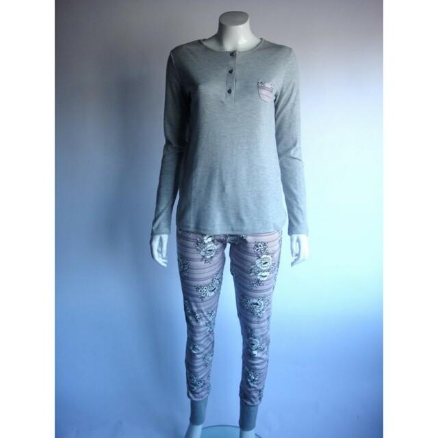 Dámské pyžamo 44805 - Sabrina (cocoon) - M - šedý melír