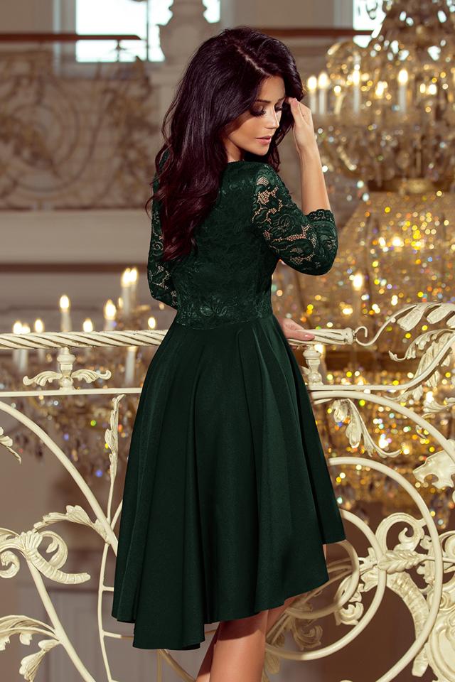 0b4a93c89ad4 NICOLLE - Tmavě zelené dámské šaty s delším zadním dílem a krajkovým  výstřihem 210-3