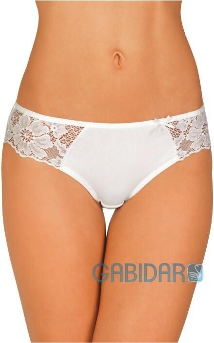 Bokové bavlněné kalhotky s krajkou 30 bílé - S