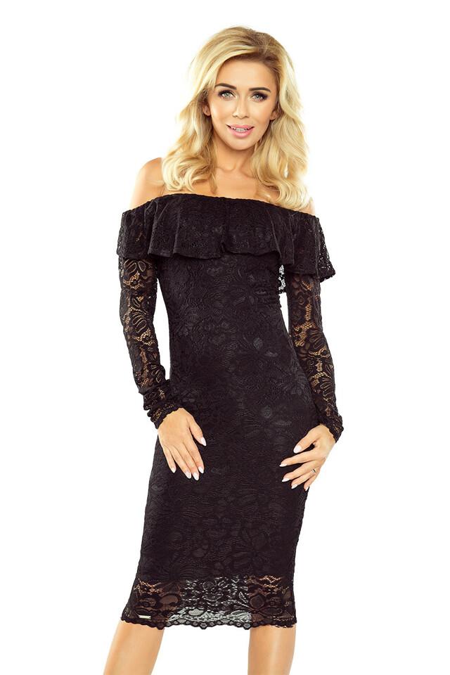 15df599266a Černé krajkové šaty s dlouhým rukávem - L