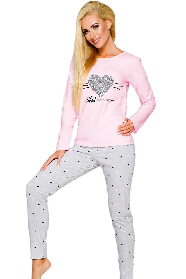 Dámské pyžamo Gala 2113 pink-grey - S - viz foto