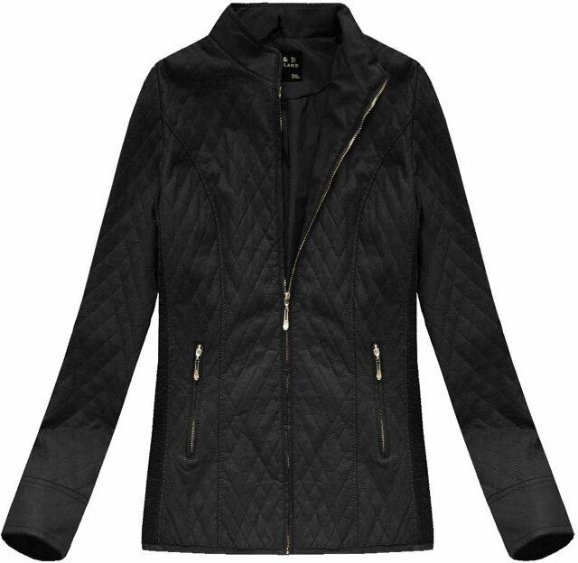 Černá prošívaná bunda ramoneska se stojáčkem (5199BIG) - 46 - černá