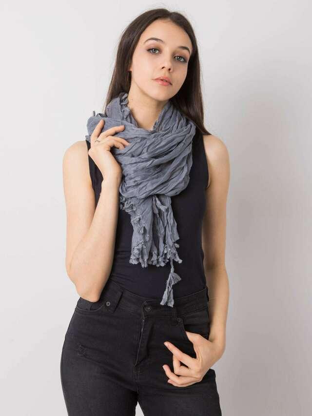 Dámský šedý šátek s třásněmi - jedna velikost