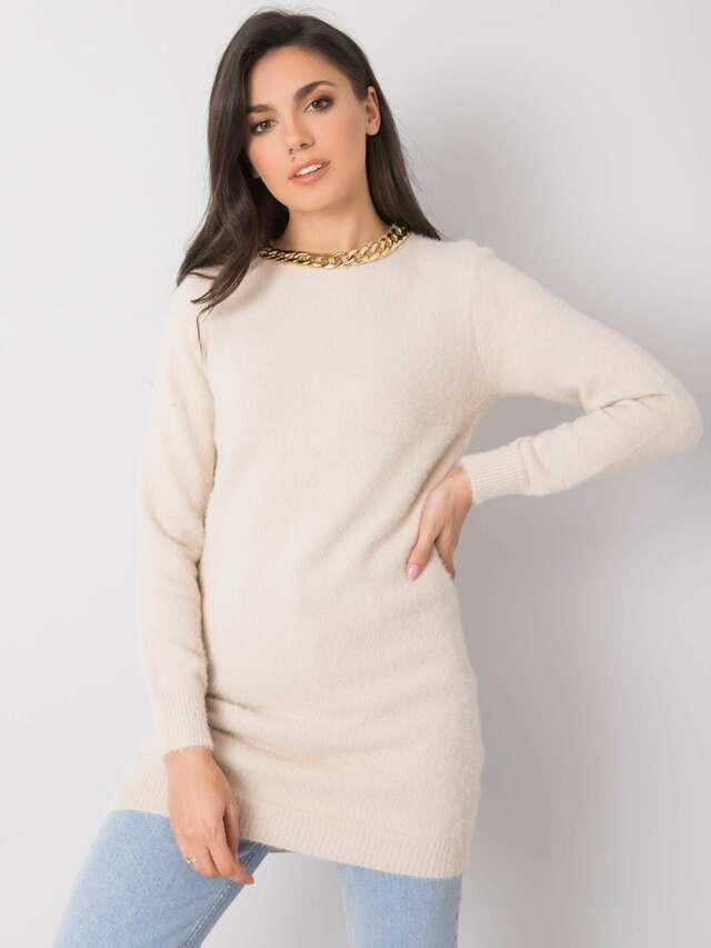 Béžový dlouhý dámský svetr - jedna velikost