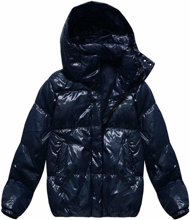 Tmavě modrá lesklá dámská zimní bunda s přírodní péřovou výplní (7121) - L (40) - tmavěmodrá