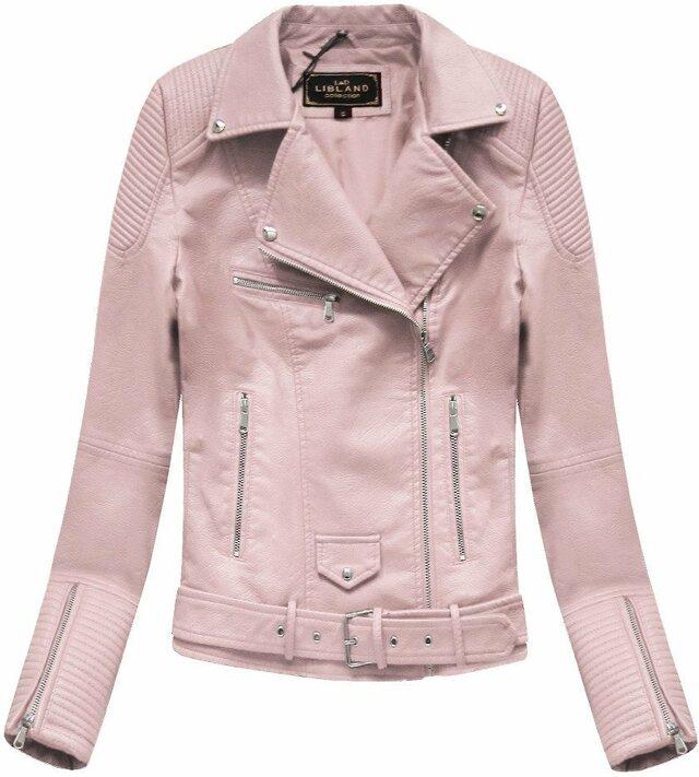 Růžová dámská bunda ramoneska se sponou (5377) - S (36) - růžová