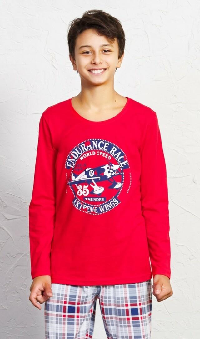 Dětské pyžamo dlouhé Lukáš - červená 13 - 14