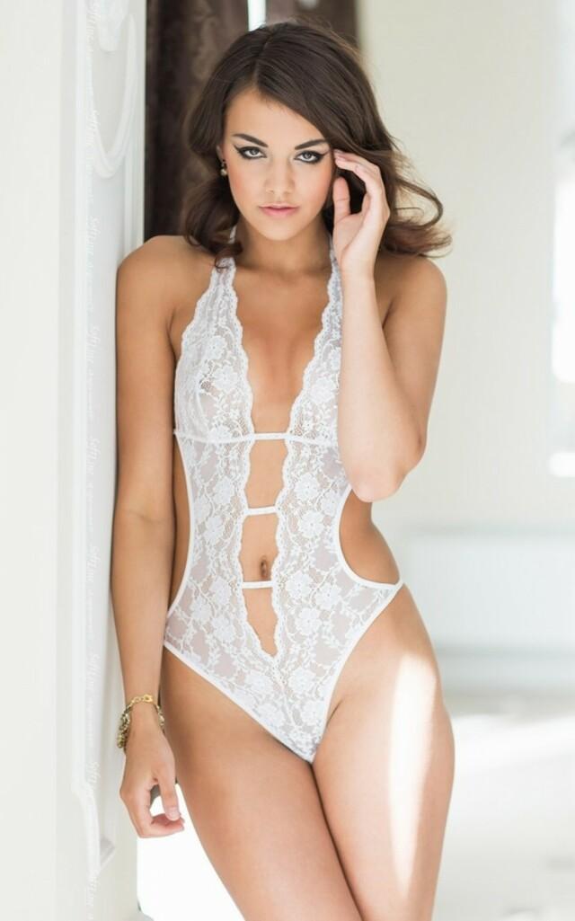 Erotické body Beth white - S/M - bílá