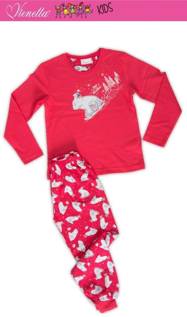 Dětské pyžamo dlouhé Méďa na saních - tyrkysová 7 - 8