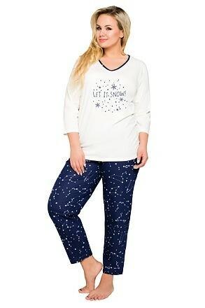 Dámské bavlněné pyžamo pro plnoštíhlé Lena s hvězdičkami