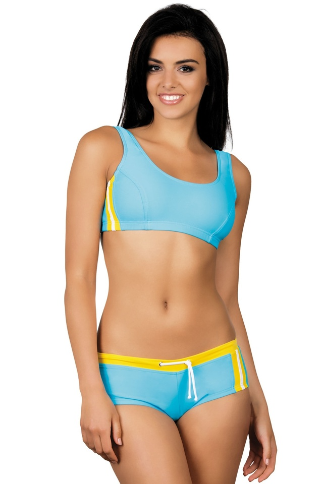 Dámské sportovní plavky Luca světle modré žluté - M