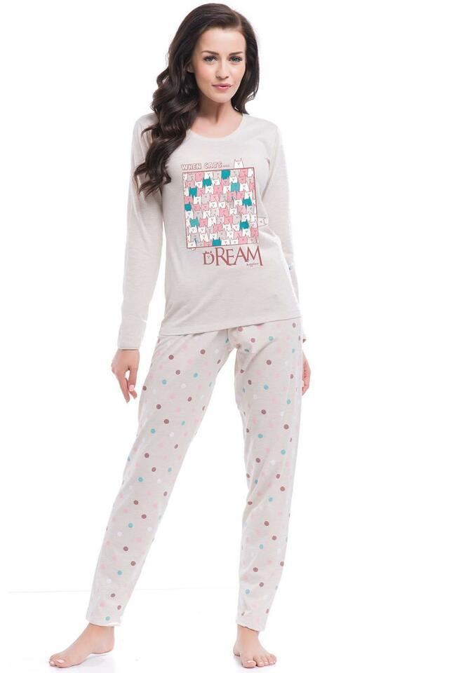 Pyžamo Dobranocka PM.8036 - L - béžová žíhaná