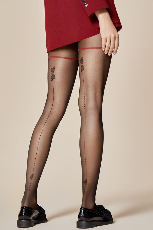 Vzorované punčochové kalhoty Fiore Sorpresa 20 den - 2-S - black 4bc8032898