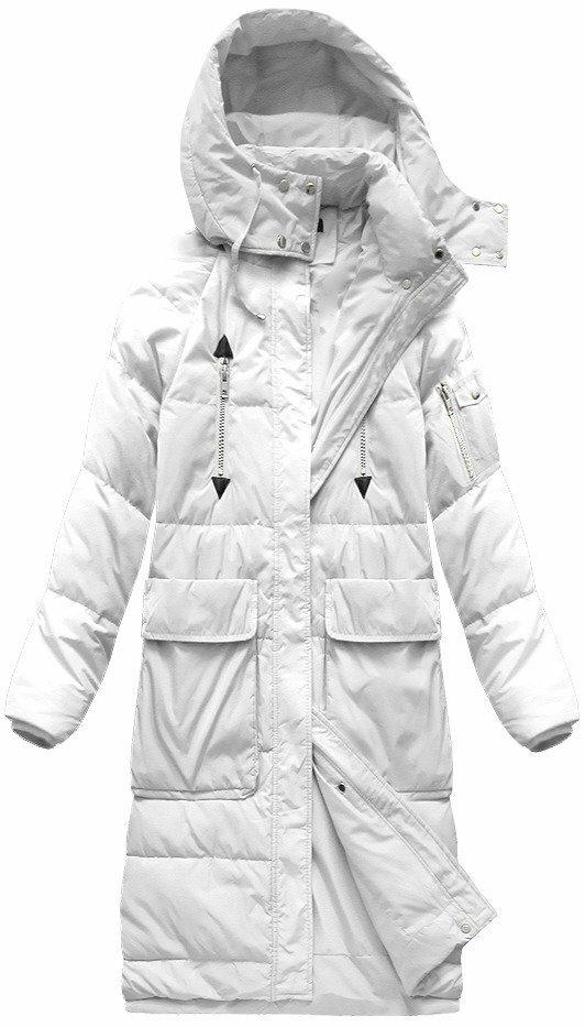 31512bc36d Bílý dámský kabát s přírodní vycpávkou (7118) - S (36) - bílá