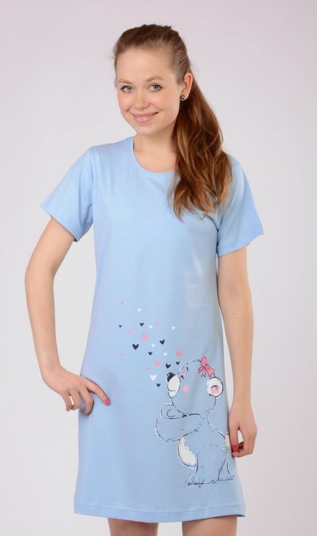 Dámská noční košile s krátkým rukávem Méďa a srdíčka