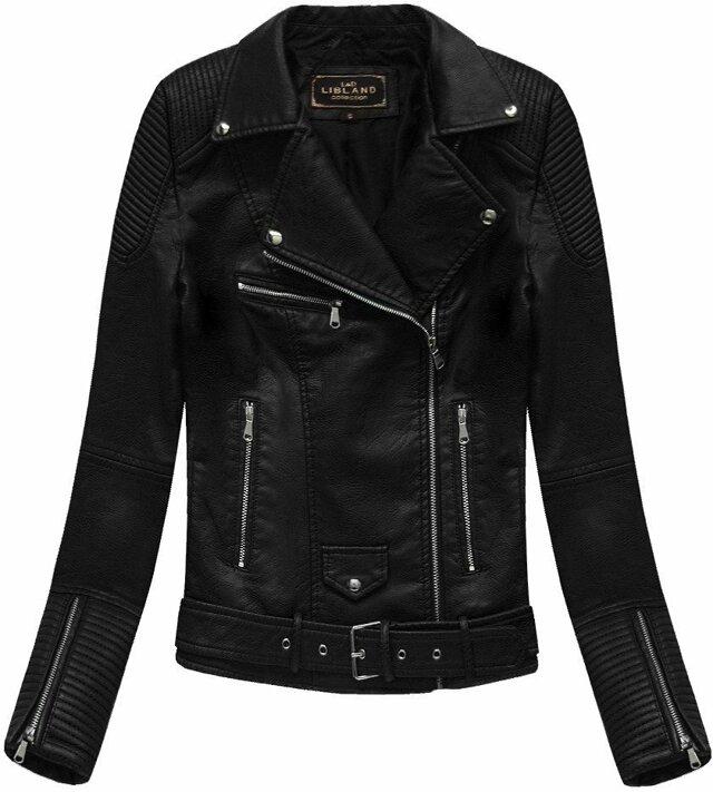 Černá dámská bunda ramoneska se sponou (5377) - S (36) - černá