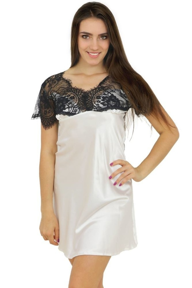 Saténová noční košilka Kayla bílá - L