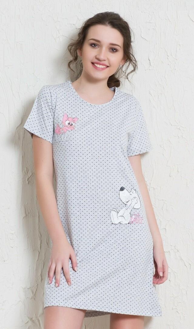 Dámská noční košile s krátkým rukávem Kočka a pes - šedá M