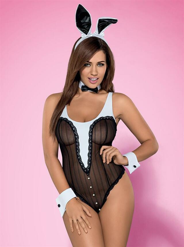 Sexy kostým Bunny teddy XXL - Obsessive - XXL - černá