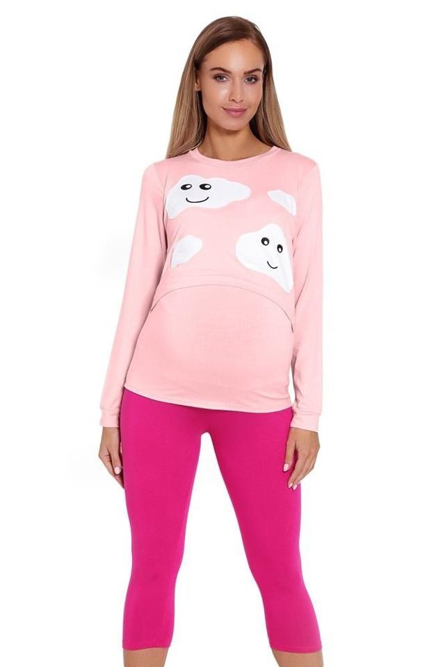 Kojicí a těhotenské pyžamo Melany růžové s obláčky - XXL