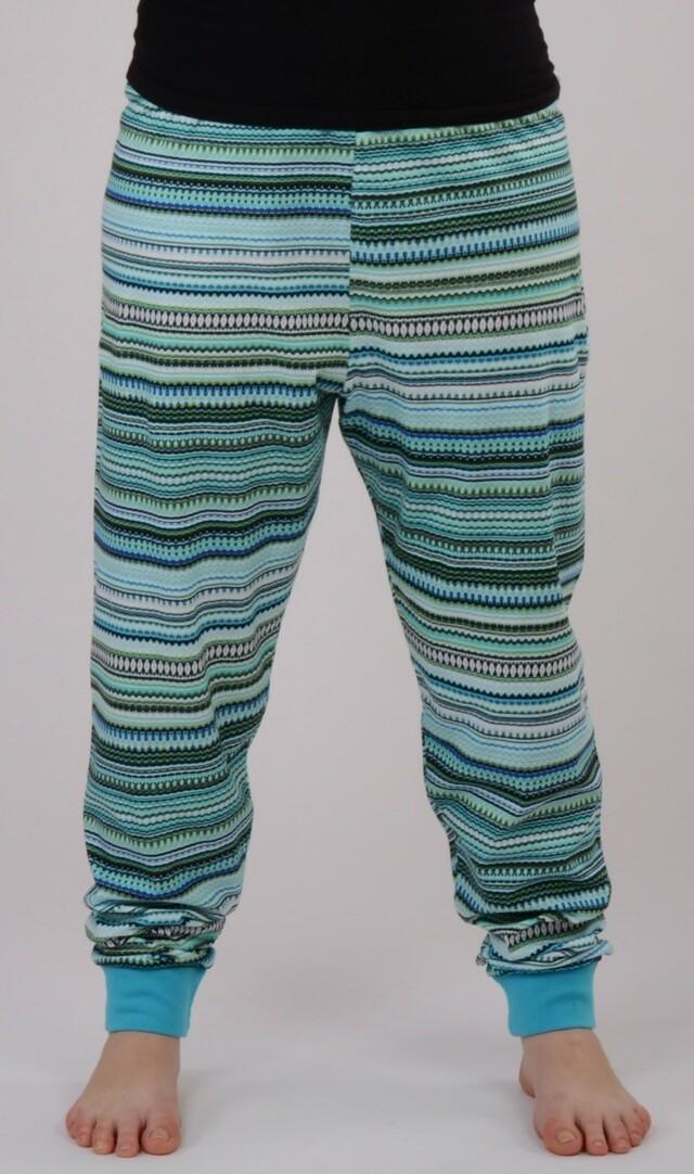 Dámské pyžamové kalhoty Veronika - azurová XXL