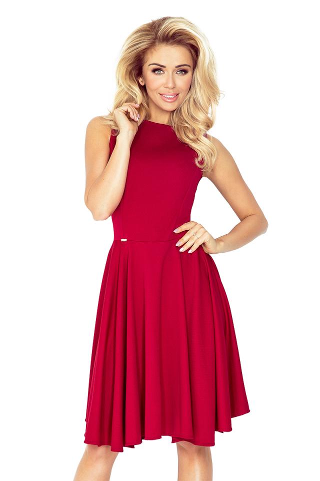 Bordó šaty kolového střihu s lodičkovým výstřihem lacosta 98-9 - S