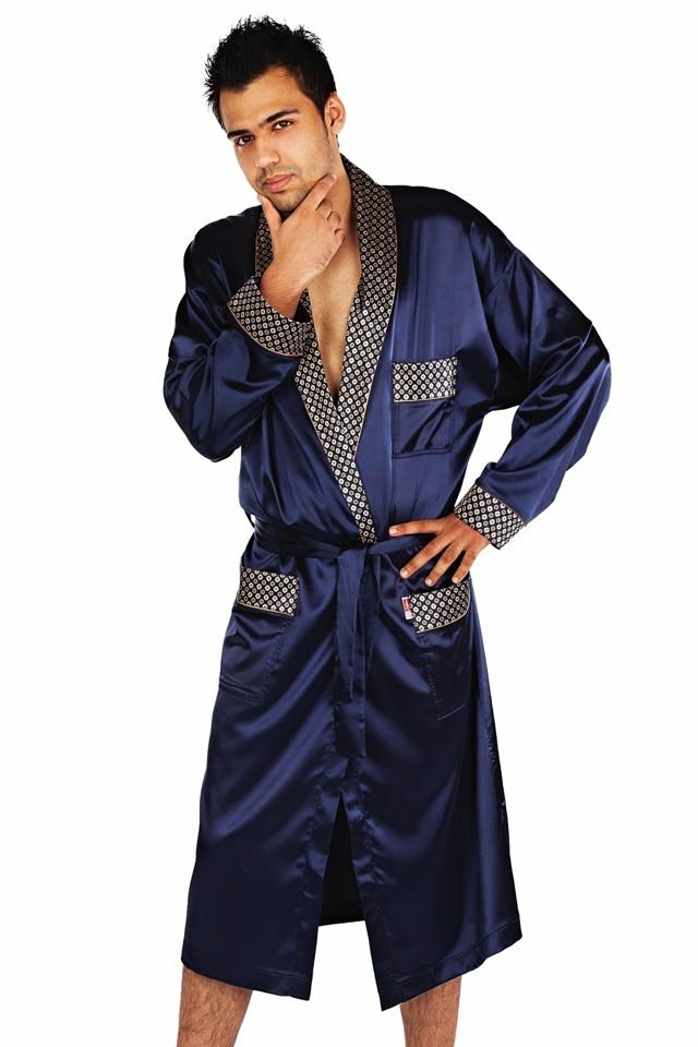 Pánský saténový župan Adam tmavě modrý - M