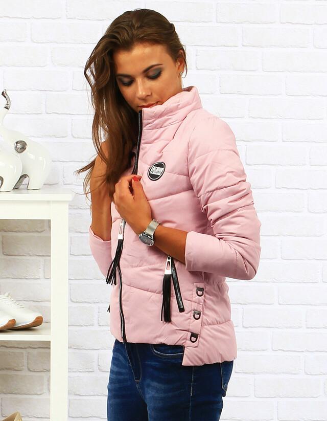 Dámská prošívaná bunda s kapucí (ty0040) - Pine House - L - růžová