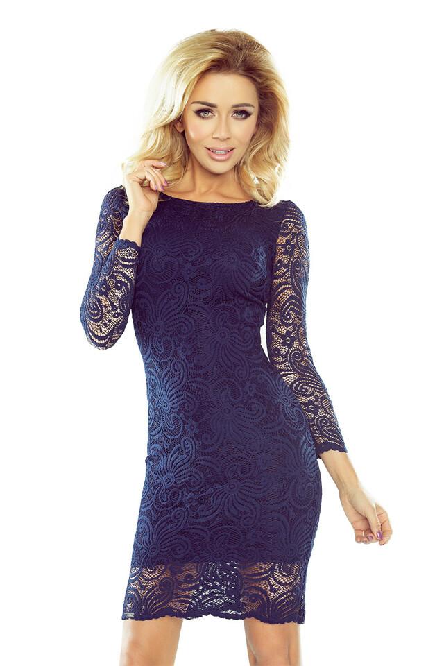 174-1 Tmavě modré vypasované krajkové šaty - XL