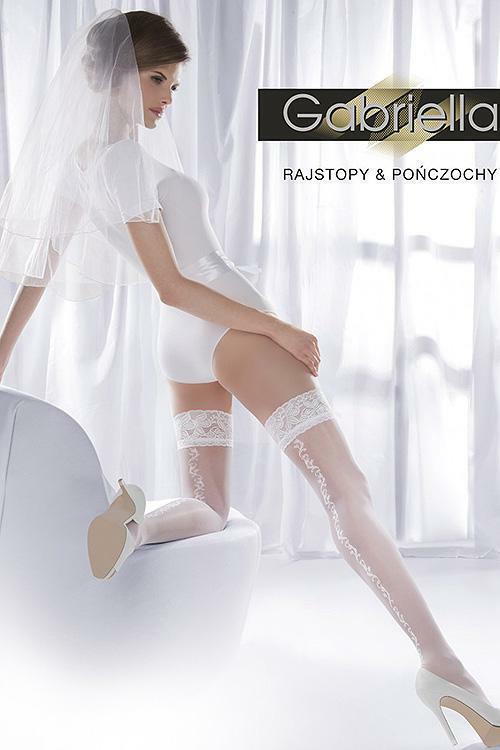 Stylové samodržící punčochy Gabriella Wedding Princessa 08 Code 192 - 1/2-XS/S - bianco