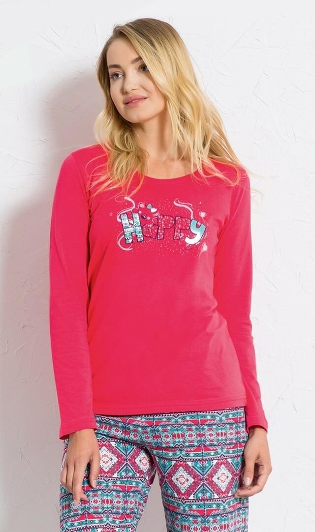 Dámské pyžamo dlouhé Méďa Happy - tmavě růžová L