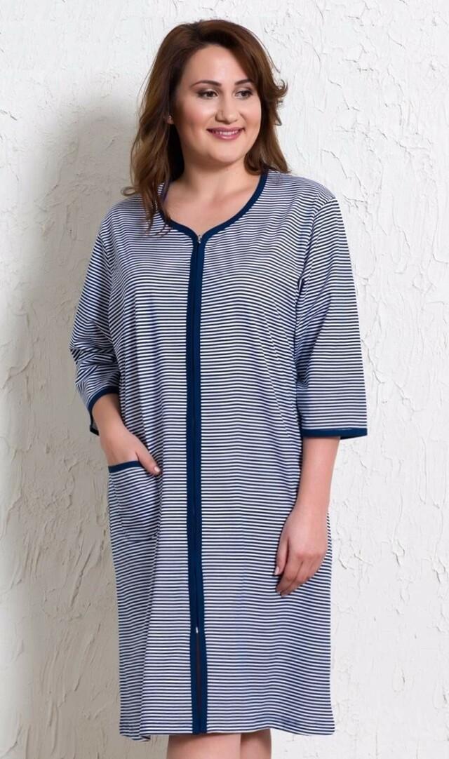 Dámské domácí šaty s tříčtvrtečním rukávem Pláž - modrá 1XL